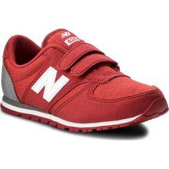 Sneakersy NEW BALANCE - KE420EDY Czerwony. Czerwone trampki chłopięce marki New Balance, z materiału, na rzepy. W wyprzedaży za 189,00 zł.