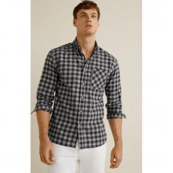 Mango Man - Koszula Puertos. Szare koszule męskie na spinki marki S.Oliver, l, z bawełny, z włoskim kołnierzykiem, z długim rękawem. Za 139,90 zł.