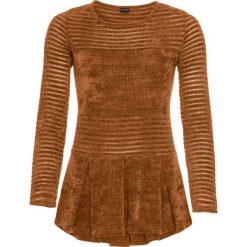 Sweter z szenili bonprix brązowo-złoty. Brązowe swetry klasyczne damskie marki bonprix, z dzianiny. Za 99,99 zł.