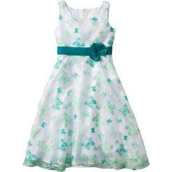 Sukienki dziewczęce z falbanami: Sukienka na uroczyste okazje bonprix biało-szmaragdowy motyl