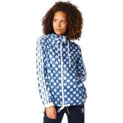 Adidas Originals Kurtka damska Windbreaker niebieska r. 36 (BJ8377). Szare kurtki sportowe damskie marki adidas Originals, na co dzień, z nadrukiem, z bawełny, casualowe, z okrągłym kołnierzem, proste. Za 269,85 zł.