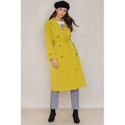 Płaszcze damskie pastelowe: Trendyol Płaszcz dwurzędowy z paskiem - Yellow