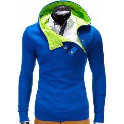 Bluzy męskie: BLUZA MĘSKA Z KAPTUREM PACO – NIEBIESKO-ZIELONA