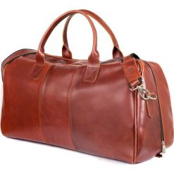 GERONE Koniakowa męska torba ze skóry Podróżna smooth leather. Brązowe torby podróżne Brødrene, z materiału, na ramię, duże. Za 750,00 zł.