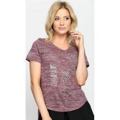 Bordowy T-shirt Feelings. Czerwone bluzki damskie Born2be, l. Za 29,99 zł.