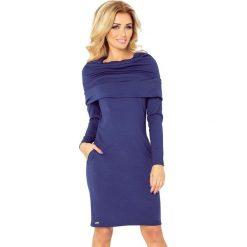Silvia Sukienka z GOLFEM - grube punto - GRANATOWA. Niebieskie sukienki na komunię marki numoco, s, z golfem. Za 145,00 zł.