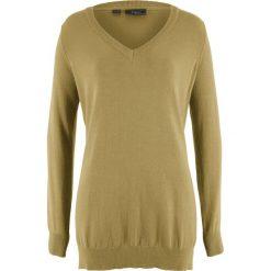 Sweter z głębokim dekoltem w serek bonprix zielony. Zielone swetry klasyczne damskie bonprix, z dekoltem w serek. Za 32,99 zł.