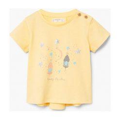 Mango Kids - Top dziecięcy Fanalet 80-104 cm. Brązowe bluzki dziewczęce bawełniane Mango Kids, z nadrukiem, z okrągłym kołnierzem, z krótkim rękawem. W wyprzedaży za 29,90 zł.
