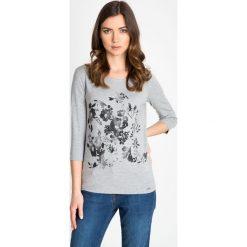 Bluzki damskie: Szara bluzka w czarne kwiaty QUIOSQUE