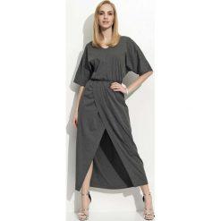 Grafitowa Maxi Sukienka z Zakładanym Dołem. Szare długie sukienki Molly.pl, na co dzień, s, w jednolite wzory, z jersey, eleganckie, dekolt w kształcie v, dopasowane. Za 99,90 zł.