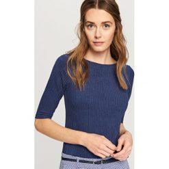Koszulka z prążkowanej dzianiny - Granatowy. Niebieskie t-shirty damskie Reserved, l, z dzianiny. Za 49,99 zł.
