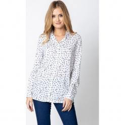 Koszula w małe gałązki QUIOSQUE. Białe koszule męskie na spinki QUIOSQUE, m, z nadrukiem, z jeansu, z klasycznym kołnierzykiem, z długim rękawem. Za 139,99 zł.