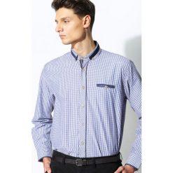 Koszule męskie na spinki: Niebiesko-Beżowa Koszula Patch