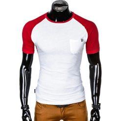 T-SHIRT MĘSKI BEZ NADRUKU S1015 - BIAŁY/CZERWONY. Czarne t-shirty męskie z nadrukiem marki Ombre Clothing, m, z bawełny, z kapturem. Za 35,00 zł.