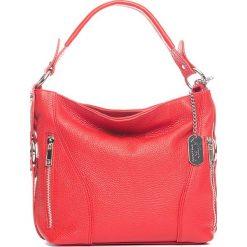 Torebki klasyczne damskie: Skórzana torebka w kolorze czerwonym - 32 x 25 x 10 cm