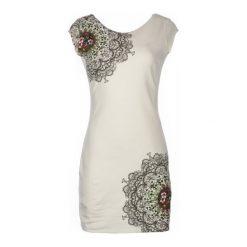 Desigual Sukienka Damska Shanon S Biały. Białe sukienki na komunię marki Desigual, na co dzień, s, w kolorowe wzory, z dekoltem na plecach. W wyprzedaży za 259,00 zł.