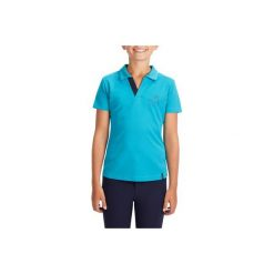 Koszulka polo PL500 Mesh turku. Niebieskie bluzki dziewczęce FOUGANZA, z meshu, z krótkim rękawem. W wyprzedaży za 34,99 zł.