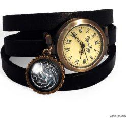Zegarek skórzany Gra o tron. Czarne zegarki damskie marki KIPSTA, m, z elastanu, z długim rękawem, na fitness i siłownię. Za 120,00 zł.