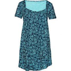 Tunika shirtowa, krótki rękaw bonprix morsko-ciemnoniebieski wzorzysty. Niebieskie tuniki damskie bonprix, z krótkim rękawem. Za 74,99 zł.