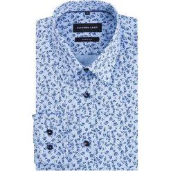 Koszula SIMONE KDWR000236. Niebieskie koszule męskie na spinki Giacomo Conti, m, z nadrukiem, z bawełny, z klasycznym kołnierzykiem, z długim rękawem. Za 229,00 zł.
