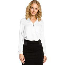 Bluzki damskie: Biała Koszulowa Bluzka ze Stójką