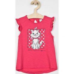 Blukids - Top dziecięcy 74-98 cm. Różowe bluzki dziewczęce bawełniane Blukids, z nadrukiem, z okrągłym kołnierzem, z krótkim rękawem. Za 39,90 zł.