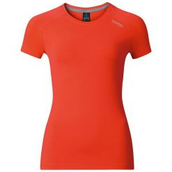 Odlo Koszulka damska T-shirt s/s crew neck Sillian pomarańczowa r. L. Brązowe topy sportowe damskie Odlo, l. Za 62,77 zł.