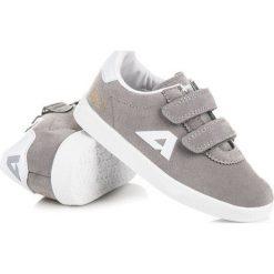 Buty dziecięce: ZAMSZOWE TRAMPKI NA RZEPY AMERICAN American Club odcienie szarości i srebra