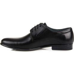 Derby męskie: Eleganckie czarne półbuty lucca DEVERA