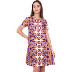 Sukienki hiszpanki: Trapezowa sukienka z krótkim rękawem BIALCON