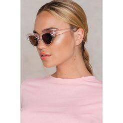 Okulary przeciwsłoneczne damskie aviatory: NA-KD Trend Okulary przeciwsłoneczne kocie oczy - White,Silver