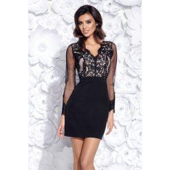 Sukienka dopasowana z koronką 2159. Czarne sukienki balowe Bico, xs, w koronkowe wzory, z koronki, z długim rękawem, dopasowane. Za 199,00 zł.