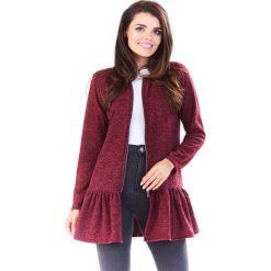 Swetry rozpinane damskie: Bordowy Długi Sweter na Suwak z Falbanką