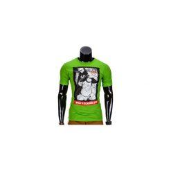 T-SHIRT MĘSKI Z NADRUKIEM S838 - ZIELONY. Zielone t-shirty męskie z nadrukiem marki Ombre Clothing, m. Za 19,99 zł.