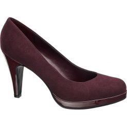 Szpilki damskie Graceland czerwone. Czarne szpilki marki Graceland, w kolorowe wzory, z materiału. Za 89,90 zł.