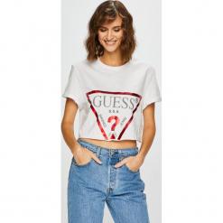 Guess Jeans - Top. Szare topy damskie marki Guess Jeans, na co dzień, l, z aplikacjami, z bawełny, casualowe, z okrągłym kołnierzem, mini, dopasowane. Za 139,90 zł.