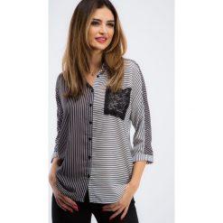Czarno-biała koszula w paski 21267. Białe koszule wiązane damskie Fasardi, m, w paski. Za 64,00 zł.