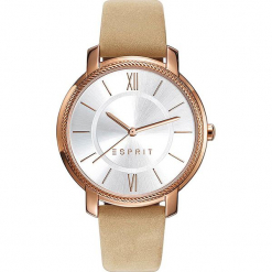 Zegarek kwarcowy w kolorze beżowo-srebrno-różowozłotym. Brązowe, analogowe zegarki damskie Esprit Watches, ze stali. W wyprzedaży za 227,95 zł.