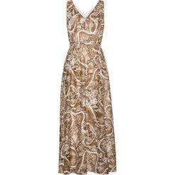 Sukienki: Długa sukienka z nadrukiem bonprix biel wełny – złoty