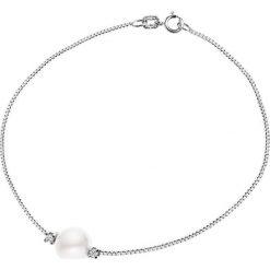 Bransoletki damskie: Srebrna bransoletka z perłą i diamentami