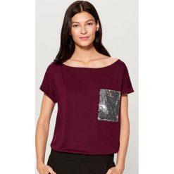 Koszulka z błyszczącą kieszenią - Fioletowy. Czarne t-shirty damskie marki Auri, l, z bawełny. Za 49,99 zł.