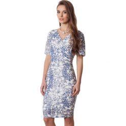 Sukienki hiszpanki: Sukienka w kolorze niebiesko-kremowym
