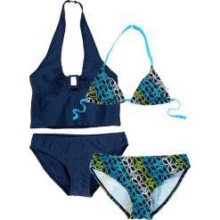 Stroje dwuczęściowe dziewczęce: Bikini+tankini (4 części) bonprix ciemnoniebieski w pacyfki