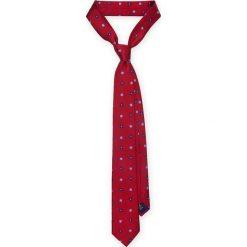 KRAWAT CZERWONY W KWIATKI. Czerwone krawaty męskie LANCERTO, w kwiaty, z żakardem, eleganckie. Za 139,90 zł.