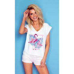 Bluzka t-shirt flaming k162. Białe bluzki damskie Knitis, m, z dzianiny, klasyczne, z klasycznym kołnierzykiem, z krótkim rękawem. Za 69,00 zł.