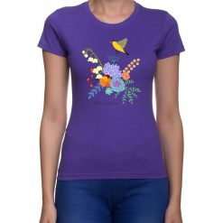 Koszulka damska. kwiaty i ptaki. Niebieskie bluzki asymetryczne Pakamera, w kwiaty. Za 79,00 zł.