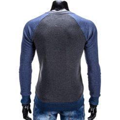 BLUZA MĘSKA BEZ KAPTURA B453 - GRAFITOWA. Szare bluzy męskie marki Ombre Clothing, m, melanż, z bawełny, bez kaptura. Za 59,00 zł.