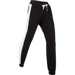 Spodnie dresowe damskie: Spodnie bawełniane dresowe, długie bonprix czarny