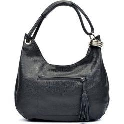 Shopper bag damskie: Skórzana torebka w kolorze czarnym – (S)35 x (W)38 x (G)6 cm