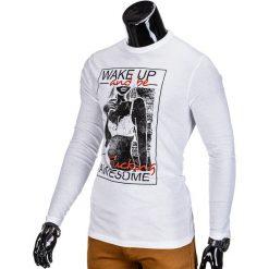T-shirty męskie: LONGSLEEVE MĘSKI Z NADRUKIEM L98 – BIAŁY